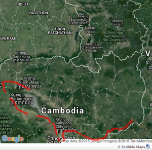 Cambodia by bike map