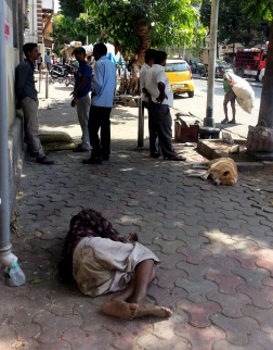 Sad and common sight of people sleeping on the streets...really common all over India