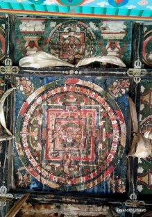 beautiful mandalas on ceilings of structures on the way