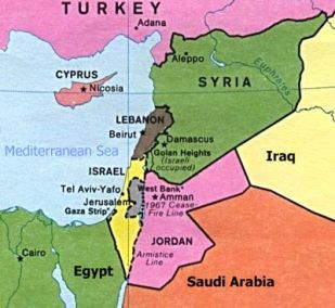 Map of where Lebanon is