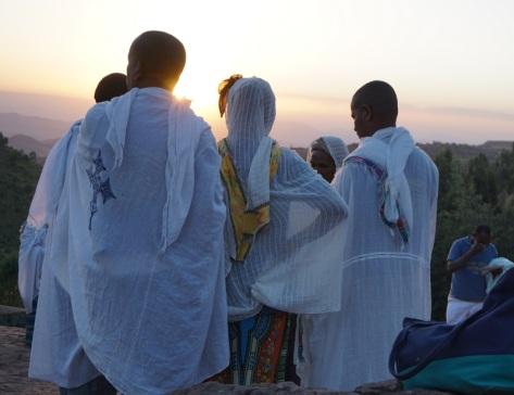 Sunset with pilgrims